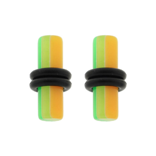 Lex & Lu Pair of Acrylic UV Sensitive Layered Ear Plugs w/O-Rings 10G-6Gauge-Lex & Lu