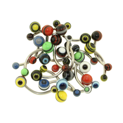 Lex & Lu Body Jewelry 20 Pack Neon Layered Acrylic Navel Belly Rings