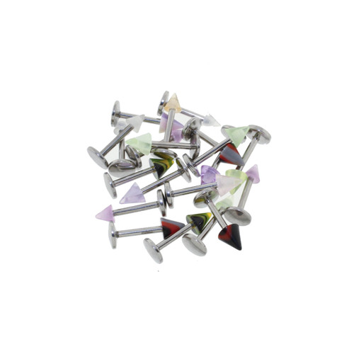 "Lex & Lu Body Jewelry 20 Pack Assorted Acrylic Labrets w/Spikes 16G 5/16""-Lex & Lu"