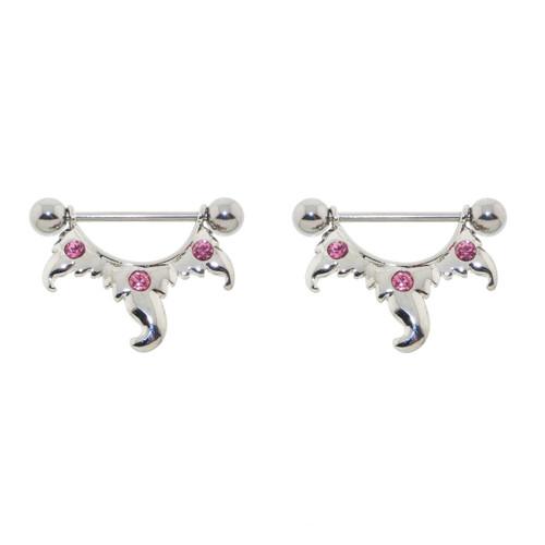 Lex & Lu Pair of Steel Barbell w/Nipple Shields Rings Pink CZ Gems, 14 Gauge-Lex & Lu