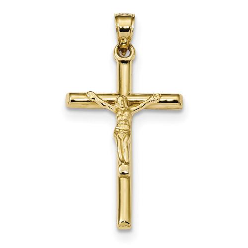 Lex & Lu 10k Yellow Gold Hollow Crucifix Pendant-Lex & Lu