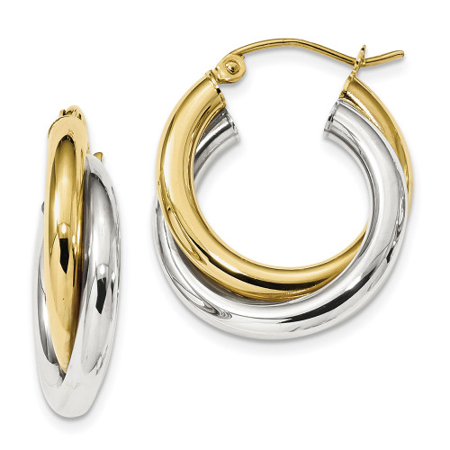 Lex & Lu 10k Two-tone Gold Polished Double Tube Hoop Earrings-Lex & Lu
