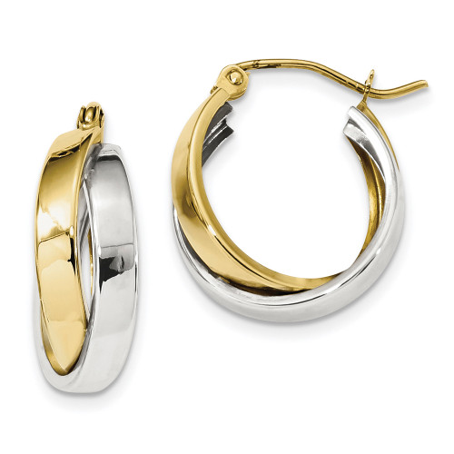 Lex & Lu 10k Two-tone Gold Polished Double Hoop Earrings LAL101727-Lex & Lu