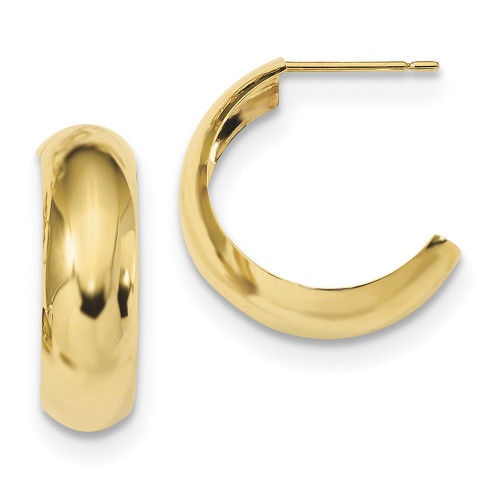 Lex & Lu 10k Yellow Gold Polished 6.5mm J-Hoop Earrings-Lex & Lu