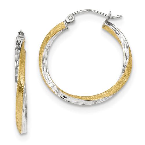 Lex & Lu 10k Yellow Gold w/Rhodium D/C 2.5mm Twisted Hoop Earrings LAL101779-Lex & Lu