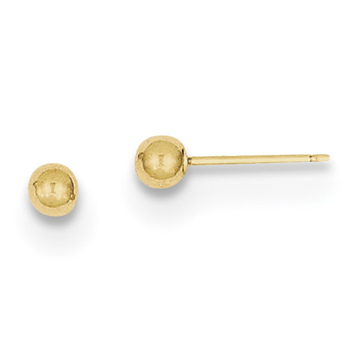 Lex & Lu 10k Yellow Gold Polished 3mm Ball Post Earrings-Lex & Lu