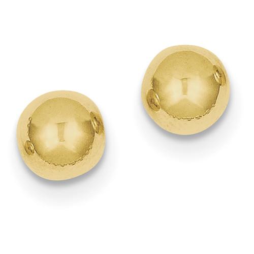 Lex & Lu 10k Yellow Gold Polished 8mm Ball Post Earrings-Lex & Lu
