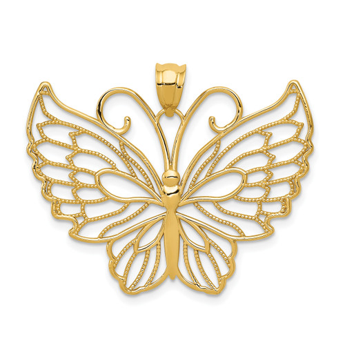 Lex & Lu 14k Yellow Gold Polished Butterfly Pendant LAL102329 - Lex & Lu