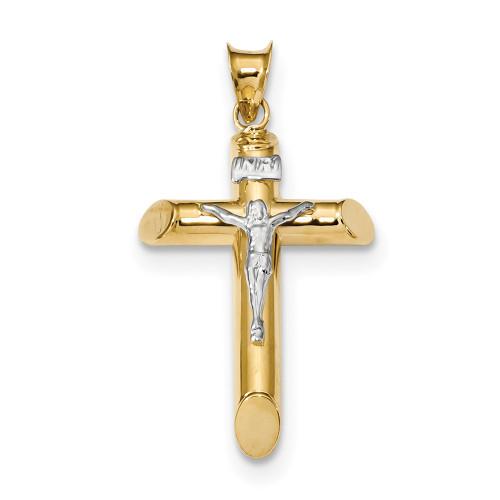 Lex & Lu 14k Two-tone Gold Polished Crucifix Pendant LAL102623-Lex & Lu