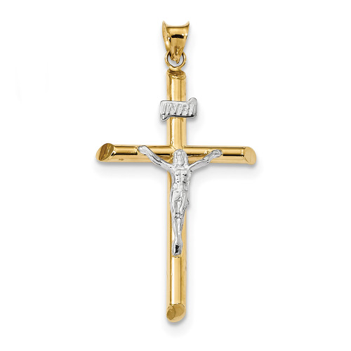 Lex & Lu 14k Two-tone Gold Polished Jesus Crucifix Pendant LAL102635-Lex & Lu