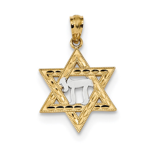 Lex & Lu 14k Yellow Gold w/Rhodium Star of David w/Chai Pendant-Lex & Lu