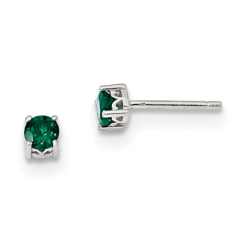 Lex & Lu Sterling Silver 4mm Round Created Emerald Post Earrings-Lex & Lu