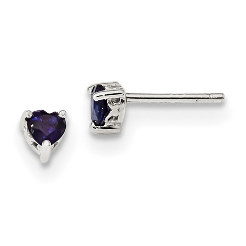 Lex & Lu Sterling Silver 4mm Heart Created Sapphire Post Earrings-Lex & Lu