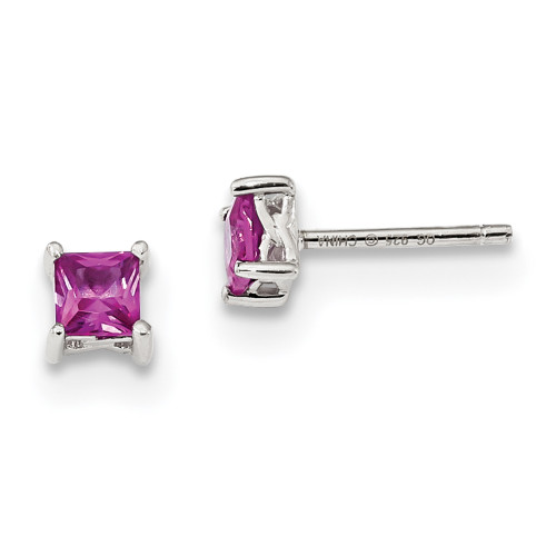 Lex & Lu Sterling Silver 4mm Princess Created Pink Sapphire Post Earrings-Lex & Lu