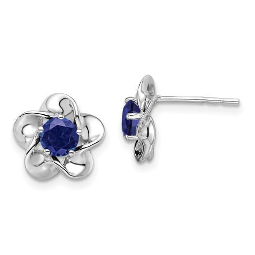 Lex & Lu Sterling Silver w/Rhodium Floral Created Sapphire Post Earrings - Lex & Lu
