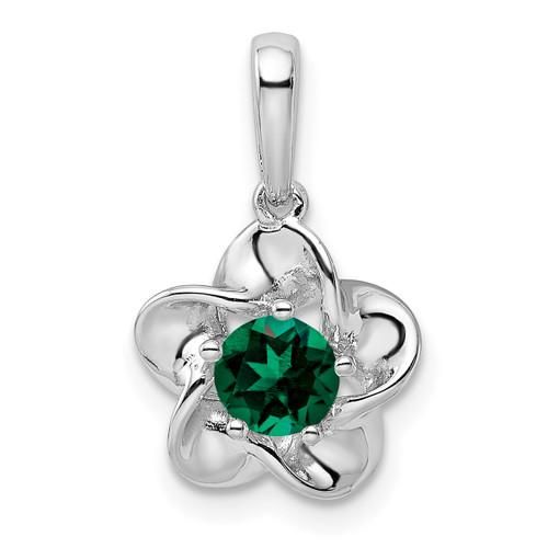 Lex & Lu Sterling Silver w/Rhodium Floral Created Emerald Pendant - Lex & Lu