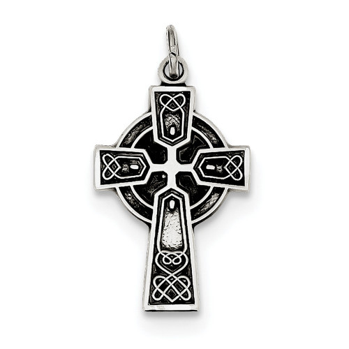Lex & Lu Sterling Silver Antiqued Satin Celtic Cross Pendant-Lex & Lu