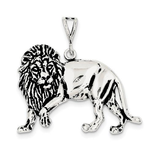 Lex & Lu Sterling Silver Antiqued Lion Charm LAL106571-Lex & Lu