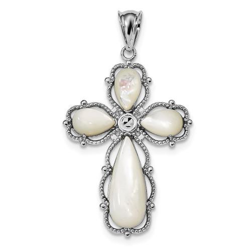 Lex & Lu Sterling Silver w/Rhodium Mother of Pearl Cross Pendant-Lex & Lu