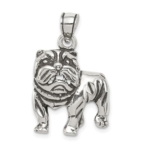 Lex & Lu Sterling Silver Antiqued Bulldog Pendant - Lex & Lu
