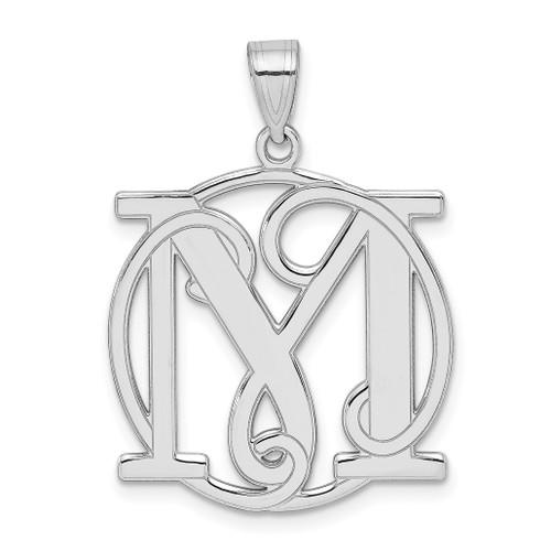 Lex & Lu Sterling Silver Fancy Script Initial M Charm - Lex & Lu