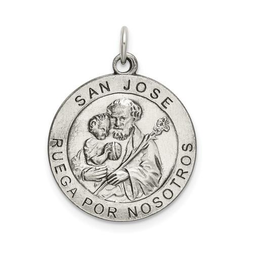 Lex & Lu Sterling Silver Satin Antiqued Spanish St. Joseph Medal Pendant - Lex & Lu