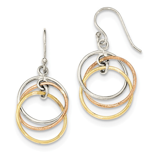 Lex & Lu Sterling Silver 14K Gold & Rose Gold Vermeil Circles Dangle Earrings-Lex & Lu