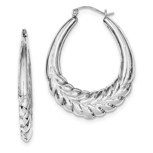Lex & Lu Sterling Silver w/Rhodium Fancy Oval Hoop Earrings-Lex & Lu