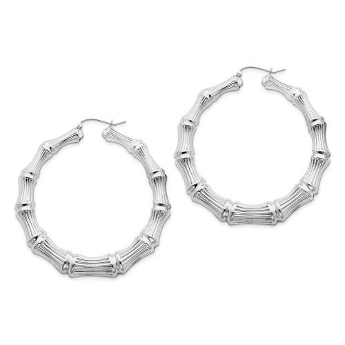 Lex & Lu Sterling Silver w/Rhodium Bamboo Hoop Earrings LAL111044-Lex & Lu