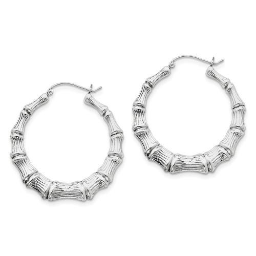 Lex & Lu Sterling Silver w/Rhodium Bamboo Hoop Earrings LAL111045-Lex & Lu