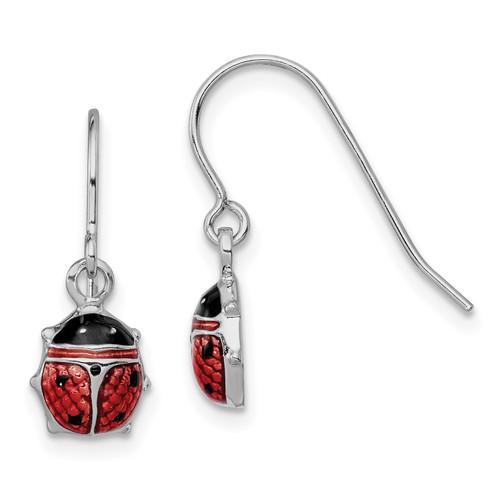 Lex & Lu Sterling Silver w/Rhodium Enameled Lady Bug Dangle Earrings - Lex & Lu