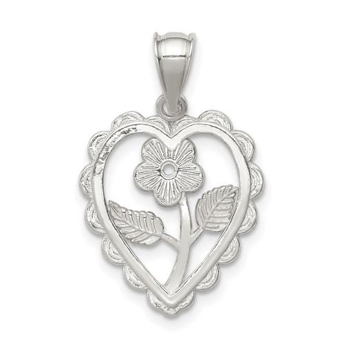 Lex & Lu Sterling Silver Polished Mini Floral Center Heart Pendant - Lex & Lu