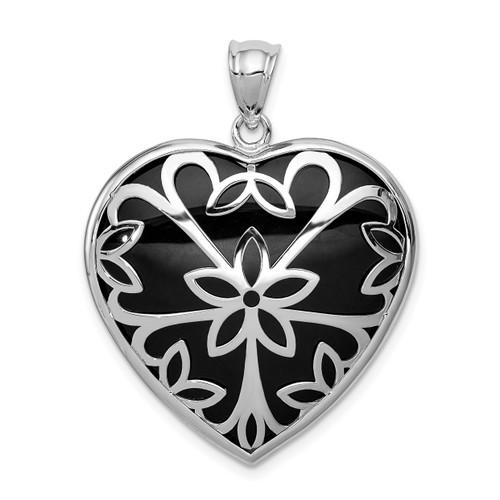 Lex & Lu Sterling Silver w/Rhodium Onyx Heart Pendant - Lex & Lu