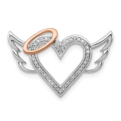 Lex & Lu Sterling Silver W/10K Rose Gold Diamond Heart/Wings Slide Pendant - Lex & Lu