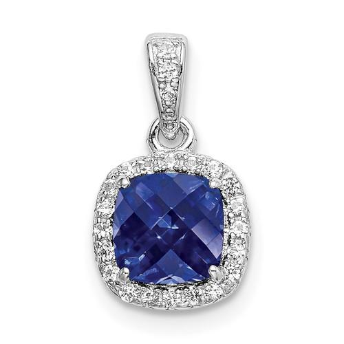 Lex & Lu Sterling Silver w/Rhodium Created Blue & White Sapphire Pendant - Lex & Lu