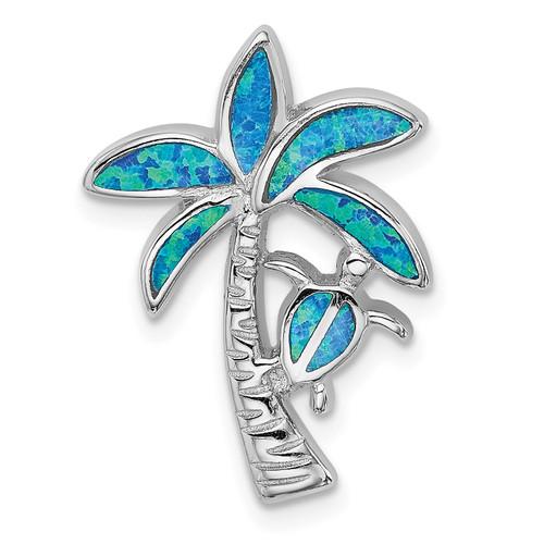 Lex & Lu Sterling Silver w/Rhodium Blue Inlay Created Opal Palm Tree Slide - Lex & Lu