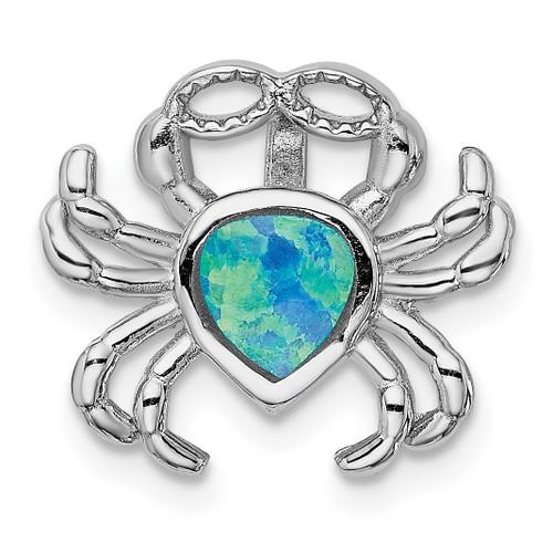 Lex & Lu Sterling Silver w/Rhodium Blue Inlay Created Opal Crab Slide - Lex & Lu