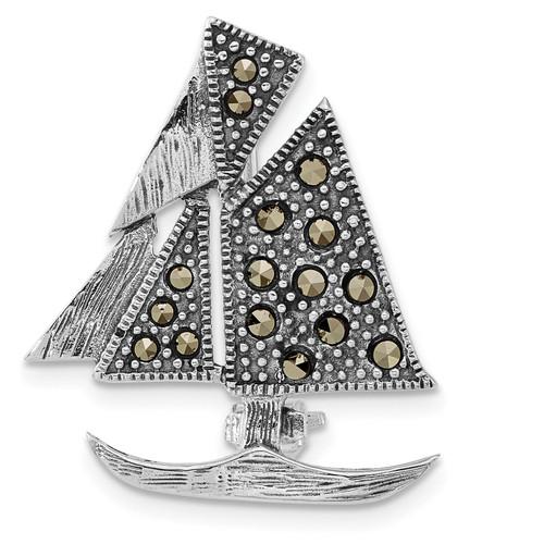 Lex & Lu Sterling Silver Antiqued Marcasite Sailboat Pin - Lex & Lu