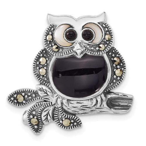 Lex & Lu Sterling Silver Antiqued Marcasite/Mother of Pearl/Black Agate Owl Pin - Lex & Lu
