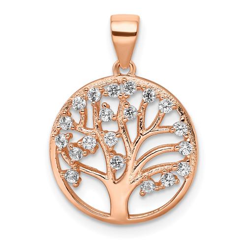 Lex & Lu Sterling Silver Rose-tone Created White Sapphire Tree of Life Pendant - Lex & Lu