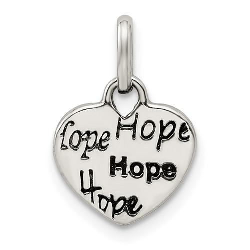 Lex & Lu Sterling Silver Antiqued and Polished HOPE Heart Charm - Lex & Lu