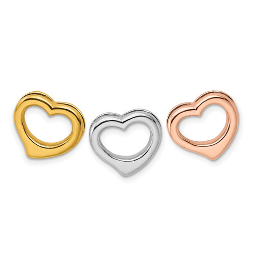 Lex & Lu Sterling Silver Rhodium, Gold & Rose-tone Set of 3 Hearts Pendant - Lex & Lu