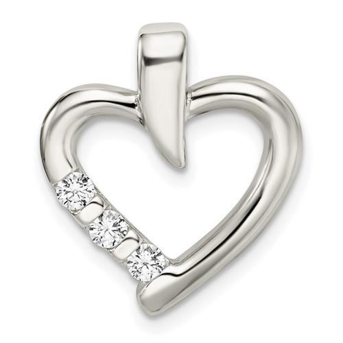 Lex & Lu Sterling Silver Polished w/CZ Heart Slide - Lex & Lu