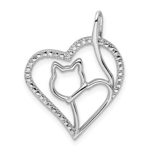 Lex & Lu Sterling Silver w/Rhodium CZ Heart w/Cat Silhouette Pendant - Lex & Lu