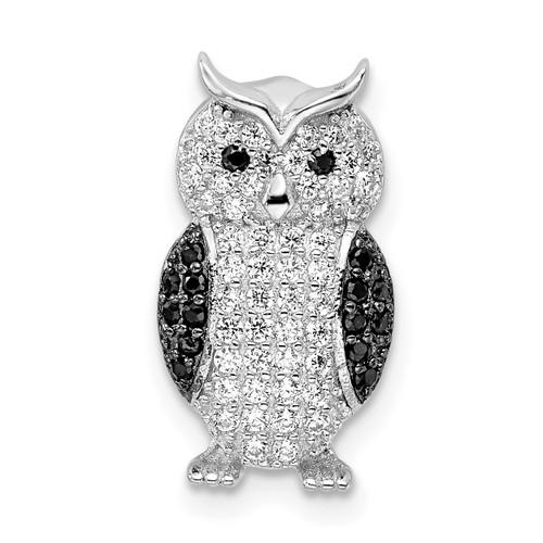 Lex & Lu Sterling Silver w/Rhodium Black & White CZ Owl Slide Pendant - Lex & Lu