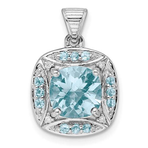 Lex & Lu Sterling Silver w/Rhodium Diamond & Lt Swiss Blue Topaz Pendant - Lex & Lu