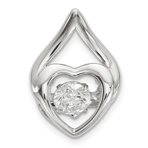 Lex & Lu Sterling Silver Platinum Plated Vibrant Swaro Zirco Heart Chain Slide - Lex & Lu