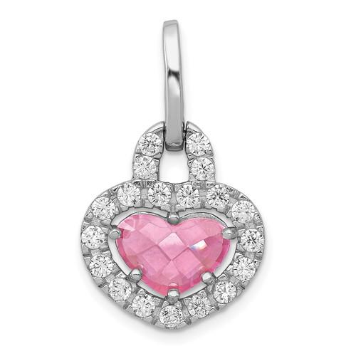 Lex & Lu Sterling SilverRhodium Plated Pink and Clear CZ Heart Pendant - Lex & Lu