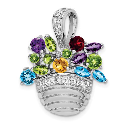 Lex & Lu Sterling Silver Multi-colored Gemstone Basket Pendant/ Pin - Lex & Lu