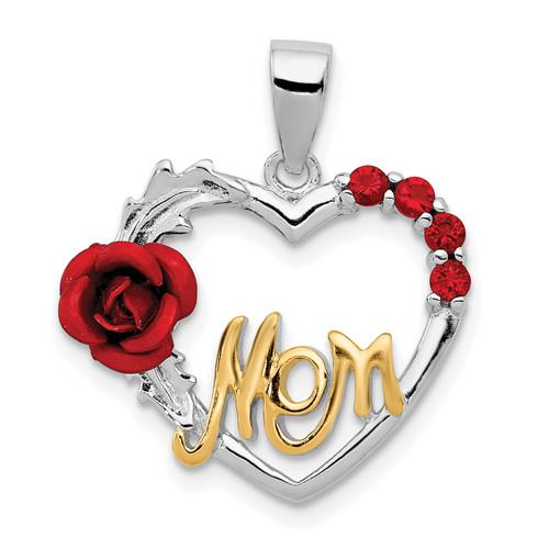 Lex & Lu Sterling Silver Vermeil Red Flower & CZ Mom Pendant - Lex & Lu